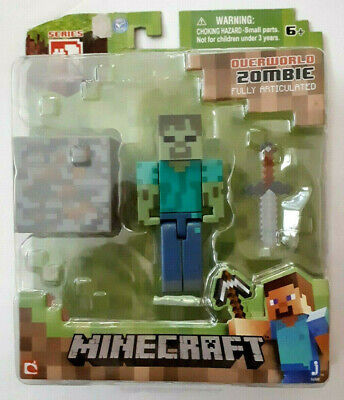 """Minecraft Overworld Zombie 3"""" Figure + Accessories Fully Articulated Series 1"""