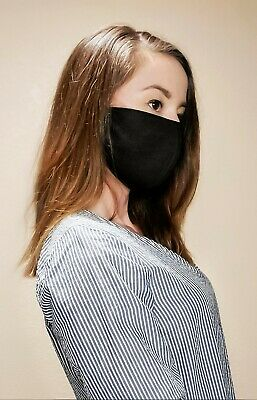 [2-pack] Triple layers, Black Cotton Face Mask, Washable and Reusable Face Cover