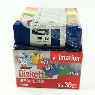 Imation Rainbow Diskettes IBM Formatted 2HD 1.44MB Open Box of 29