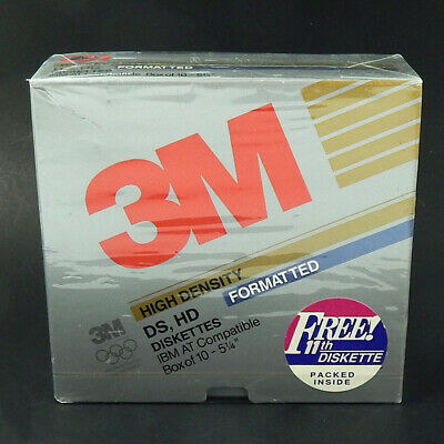 "3M High Density DS HD Diskettes Formatted IBM AT Compatible 5.25"" Box of 11"