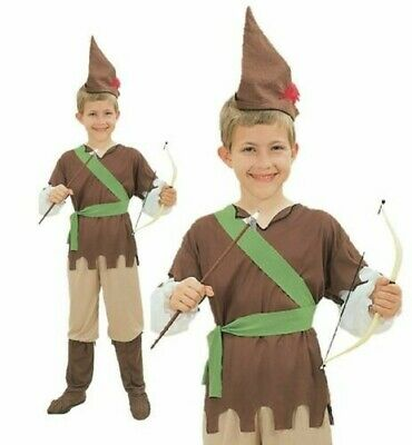 Boys Robin Hood Costume World Book Day Week Fancy Dress Medieval Outfit