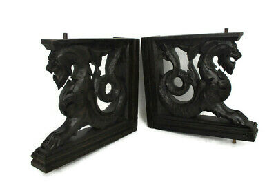 Pair French Corbels Dragons Hand Carved Wood Brackets Gothic Architectural