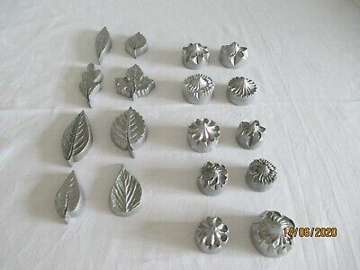 10 Metal Flowers & 8 Leaves for Maripan or Fondant Icing, Hand Made
