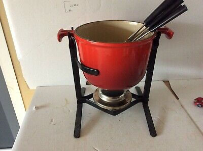 Le Creuset Melting Pot Fondue Set With Stand and Forks White