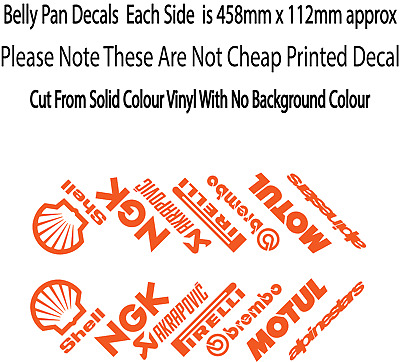 Motorbike Belly Pan Fairing Decals Stickers ORANGE Colour SET OF 14 STICKERS