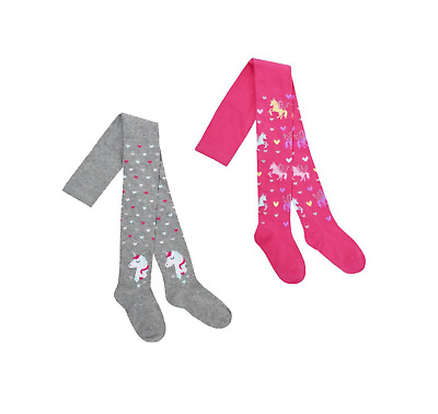 Girls Kids Tights Pack of 2 Cotton Rich Tights Patterned Unicorn Age 2-8 Years