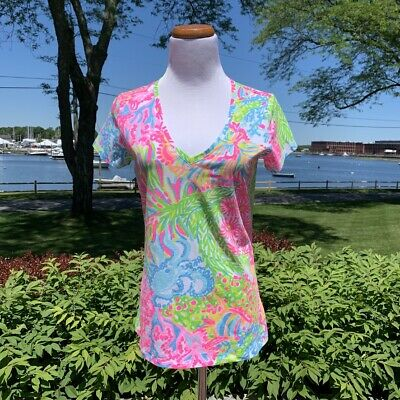 $168,Iris Blue Wild Within NWT Lilly Pulitzer Elsa Silk Top Size S Shirt Tail