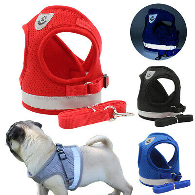 Small Medium Dog Harness and Walking Leads Set Pet Puppy Breathable Mesh Vest