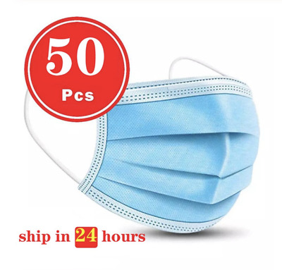 50 Pack - Disposable Face 3 Ply Mask - Anti Dust - Protection (Fast Shipping)