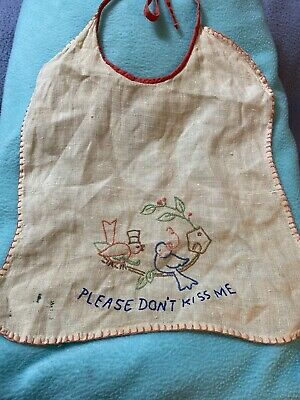 "Vintage Ivory & Red Handmade Bib ""Please Don't Kiss Me"" Embroidered"