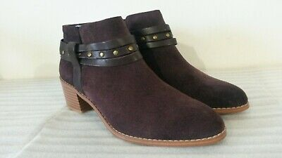 5.5//39 RRP £80 Clarks Breccan Shine Aubergine Suede ladies ankle boots 4.5//37.5