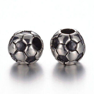 6pcs 5mm Large Hole 304 Stainless Steel Soccer Ball Metal European Loose Beads