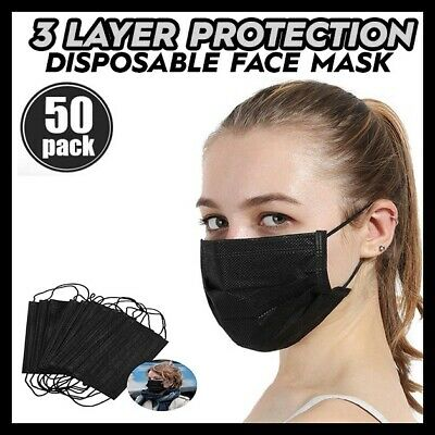 50 PC BLACK Face Mask Mouth & Nose Protector Respirator Masks with Filter NEW