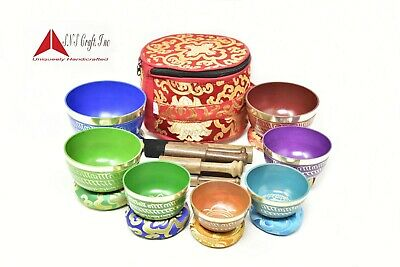 Set of 7  Colors Chakra-Healing Tibetan-Singing-Bowl Meditation with carry Box