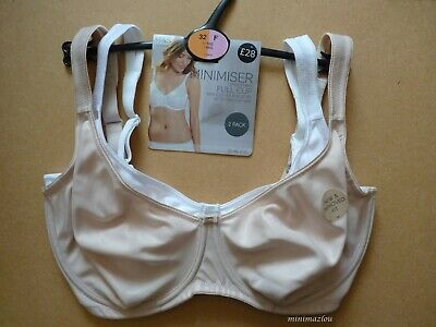 GH444 BNWT M/&S  2 Pack  White Full Cup Wire Free Non Padded Cotton Bra