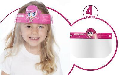 Kids Face Shield Protection Cover Guard Reusable Safety Visor Pink Girl 4 Pack