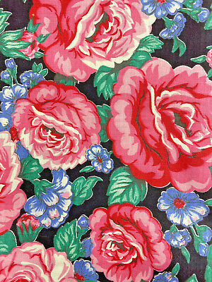Blue Roses Flowers Dark Red By The Yard CFLRED00055