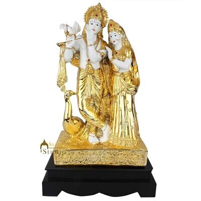 Standing Radha Krishna Statue With Peacock White Gold Plated Decor