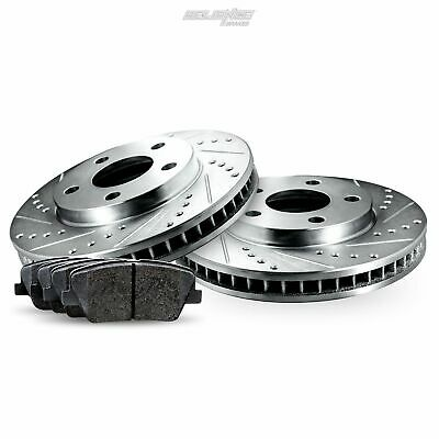 Rear Drilled Slotted Brake Rotors and Ceramic Pads For 2011-2014 Ford Mustang