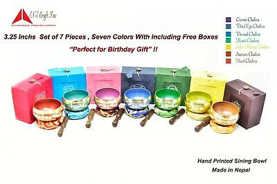 "3.25"" Colors Chakra Healing Tibetan Singing Bowl set of 7 pcs for Birthday Grift"