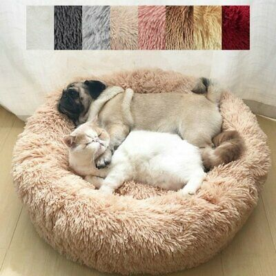 Pet Dog Cat Calming Bed Round Nest Warm Soft Plush Sleeping Comfy Flufy Hot Gift