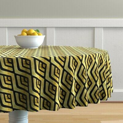 Round Tablecloth Gold Foil 1920S Art Deco Arch Black The Mad Craft Cotton Sateen