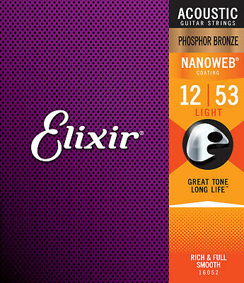 Elixir 16052 Phosphor Bronze Acoustic Guitar Strings gauges 12-53