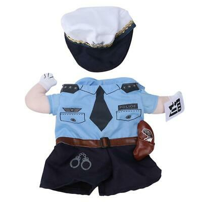 Polyester Pet Halloween Clothes Penalty Police Upright Costume Dress Up for Cats