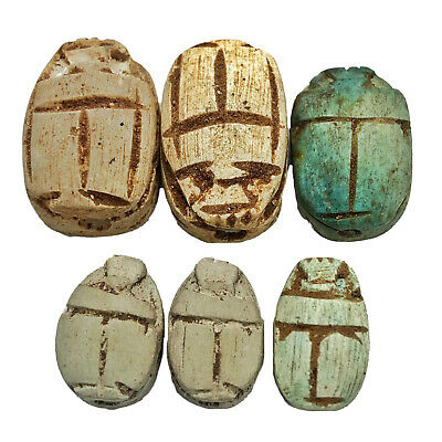 6 Egyptian Faience Clay Scarab Beads Bugs Ancient  Style Old Appraised $300.00