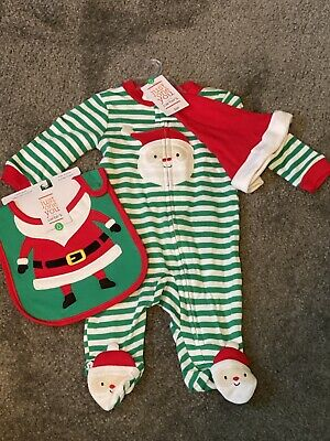 Carter/'s Boys Size 0-3 Months Santa Clause Fleece Zip-Up Striped Footie Pajamas