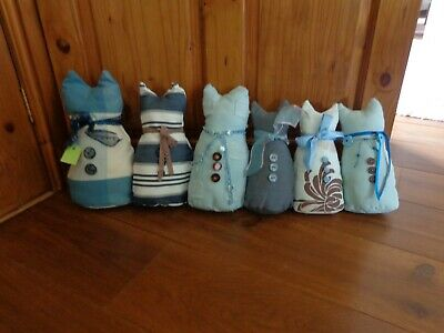 "Cat Draught Excluder 6 Cats Various Sizes Approx 12"" Tall 27"" long."
