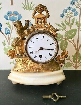 Decorative Original Antique French Gilt Metal Alabaster Mantel Clock c1860/70s