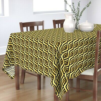 Tablecloth Gold Foil 1920S Art Deco Arch Black The Mad Craft Cotton Sateen