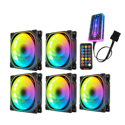 3/5 Pack RGB LED Quiet Computer Case PC Cooling Fan 120mm with Remote Control AU