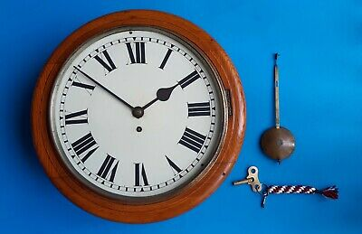 #006 ANTIQUE EARLY 1900s LIGHT OAK GUT WIRE 8 DAY FUSEE DIAL CLOCK