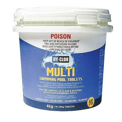 Hy-Clor 5-In-1 MULTI POOL TABLETS Control of Algae and Bacteria 1kg or 2kg