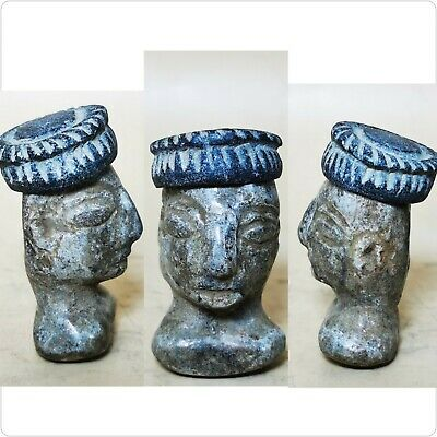 Bactrian Ancient king 200  BC  face head with hat statue . #47