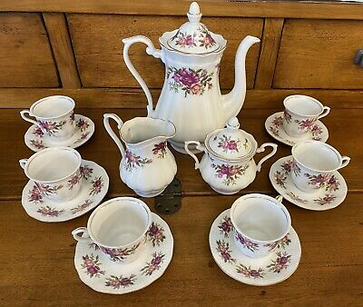 Porcelain Tea Serving Set. Rose With Gold Detailing