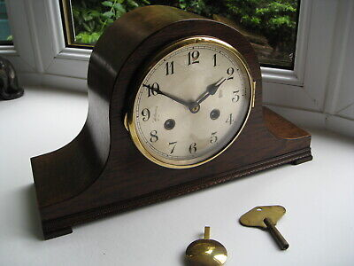 Lovely clean 8 day Napoleon Hat striking mantle clock, working order, 1930s
