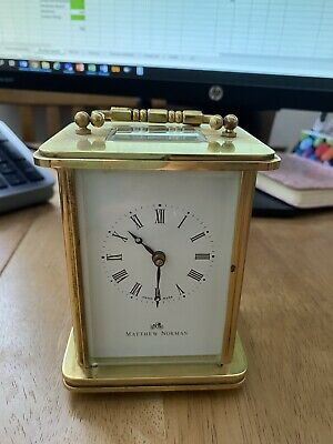 Vintage Swiss Made Matthew Norman Carriage Clock Model 1754 & Key