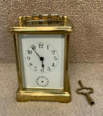 Antique French Brass 8-day Carriage Clock with Alarm - NOT WORKING