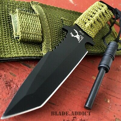 "7"" HUNTING TANTO FIXED BLADE KNIFE w/ FIRE STARTER Tactical Survival Military-W"