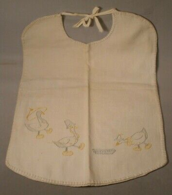 Vintage Child's Embroidered Bib with Ducks