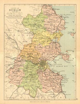 COUNTY DUBLIN. Antique county map. Leinster. Ireland. BARTHOLOMEW c1902