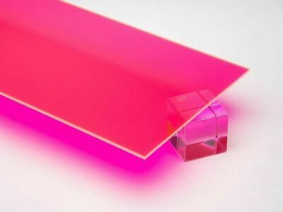 """1//8/"""" Fluorescent Red Cast Acrylic Sheet 12/"""" x 12/"""" 3mm Thick .118/"""""""