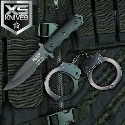 2pc Set BLACK Tactical POLICE Handcuffs + NAVY SEALS Combat Bowie SURVIVAL Knife