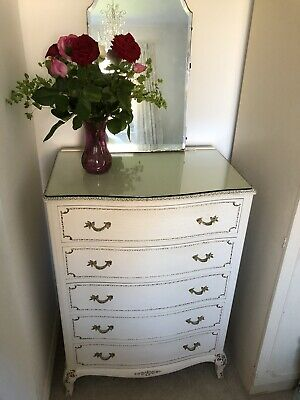Vintage Louis Style 5 Drawer Chest Of Drawers Shabby Chic Antique