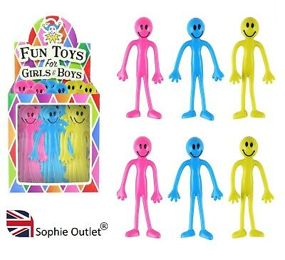 STRETCHY SMILEY MEN FIGURES Pinata Loot Party Bag Fillers Sensory Toy H35358 UK