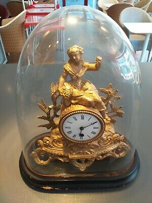 ORIGINAL GLASS DOME domed French mantel CLOCK ANTIQUE gilt spelter metal figural