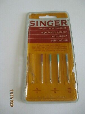 4 Vintage Singer Sewing Machine Colour Coded Needles in Original Packaging